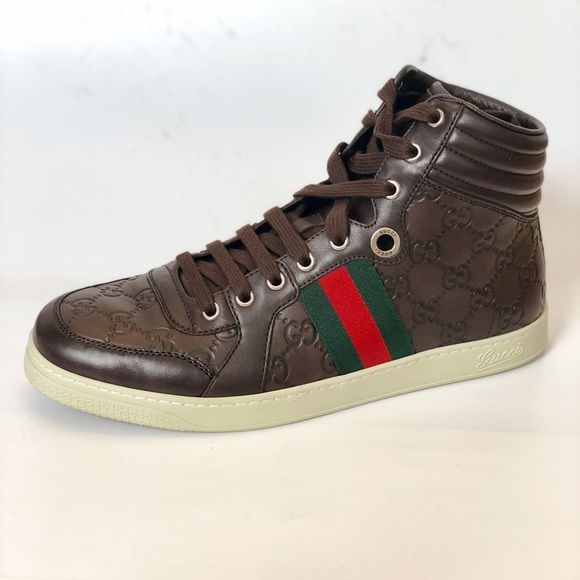 56eee8c84 Gucci Shoes | Authentic Leather Gg Web Men Sneakers | Poshmark